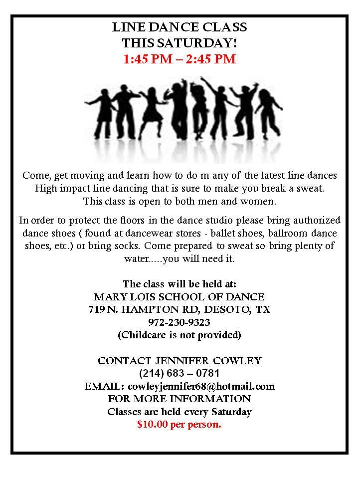 Jennifer Cowley Line Dance Class – TEMPLATE 2 » DFW Swing Dance